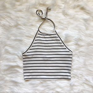 Black and White Stripped Halter Top